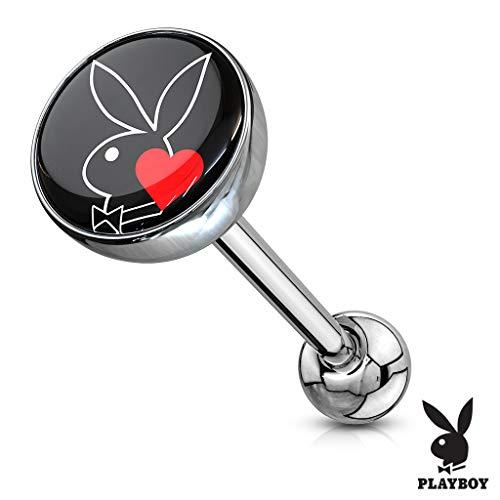 (Inspiration Dezigns 14GA Playboy Bunny Logo Print Inlay 316L Surgical Steel Barbell (PB Bunny/Kiss Mark)