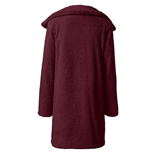 Manteau Femelle Couleur Revers Chaud Section Doudoune Hiver Unie Fausse Vin Veste Lazzboy Longue Fourrure 14nFRw4q