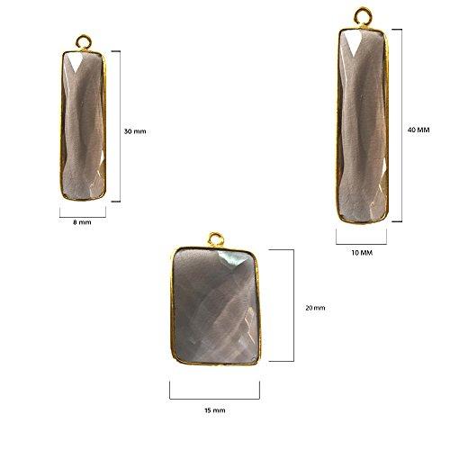 2 Pcs Smoky Rectangle Beads 15X20mm 24K Gold Vermeil by BESTINBEADS, Smoky Hydro Quartz Rectangle Pendant Bezel Gemstone Connectors Over 925 Sterling Silver Bezel Jewelry Making - Quartz Rectangle Pendant