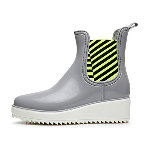 fereshte Unisex Couple Womens Mens Short Ankle Rain Boots Slip On Winter Chelsea Booties With Elastic goring No. 542 Gray and White