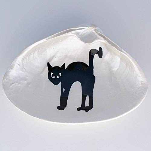 Black Cat Shell Dish - Soap Dish, Spoon Rest, Ring Dish, Jewelry Dish, Trinket Dish, Catchall Dish - Halloween Decor Home Accent