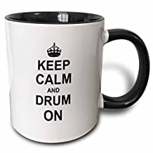 3dRose Keep Calm and Drum on Carry on Drumming Gift for Drummer Percussionist Musicians Fun Funny Humor Two Tone Black Mug, 11 oz, Black/White