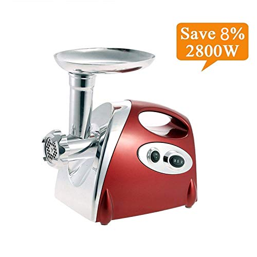 Electric Meat Grinder Stainless Steel and Duty Household Sausage Stuffer Food Processor Grinding Mincing Machine with Kubbe Attachement-Ksun 2800W Heavy Duty Mincer(Red) ETL Approved by Ksun (Image #8)