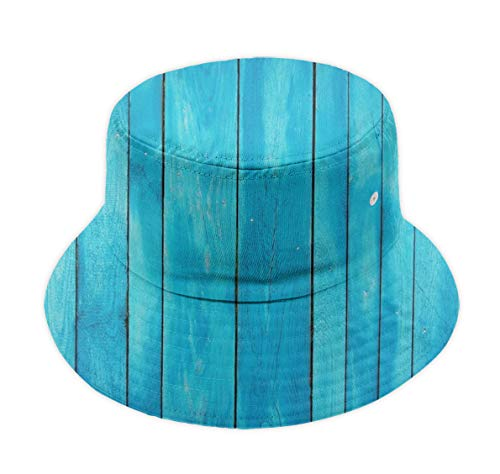 Classic Polo Style Fisherman Bucket Hat for Boys and Girls - Sea Blue Old Wooden Oak Plank Striped Woods Wide Brim Fitted Boonie Hat Sun Hat Reversible Packable Dad Cap for Hiking Fishing ()