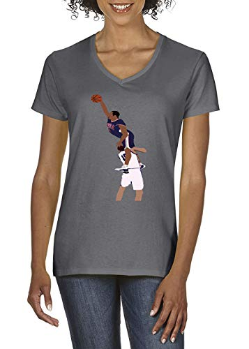 Grey Olympic Carter The Dunk Ladies V-Neck T-Shirt Adult ()