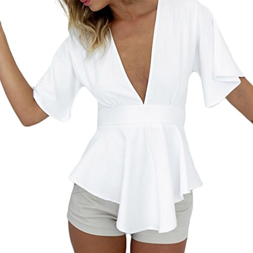 Frauen Mode V-Ausschnitt Asymetrisch Schmetterling Baumwolle Kurzarm Hoch Taille Beachwear Faltenrock Minikleid