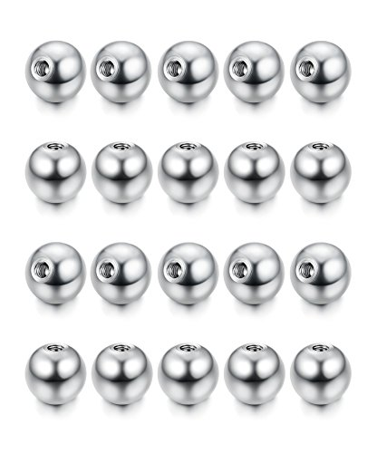 FUNRUN JEWELRY 20PCS 16G Small Stainless Steel Replacement Balls Piercing Jewelry for Women Men 3mm
