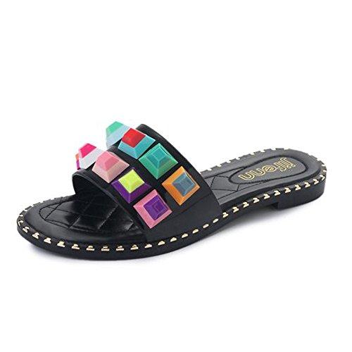 Women Flat Sandals Stud Colorful Rhinestones Slipper Dressy Rivets Slides