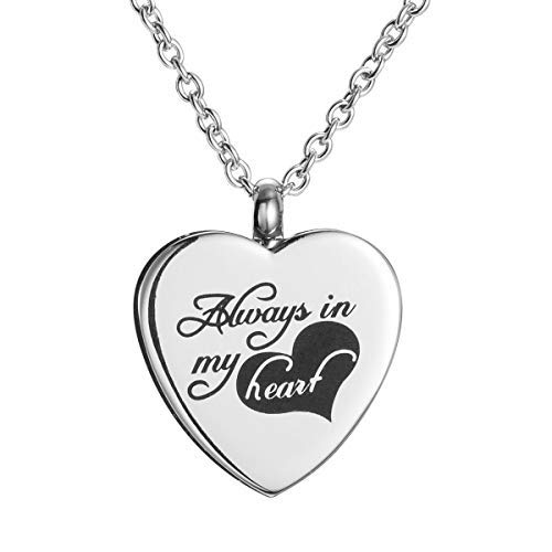 Katie Collection by urnseller Always in My Heart Cremation Jewelry for Ashes urn Keepsake with Necklace Chain