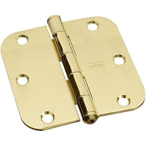 (Stanley National Hardware S800-130 759 Solid Brass Round Corner Residential Hinge in Brass , 3-1/2