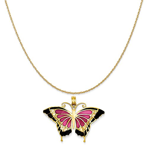 14k Yellow Gold Butterfly Chain (14k Yellow Gold Translucent Acrylic Butterfly Pendant on 14K Yellow Gold Rope Chain Necklace, 18