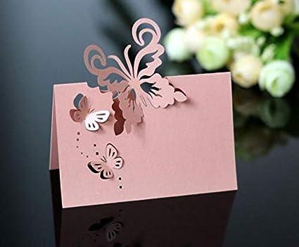 mit Laserschnitt BigBigShop Tischkarten f/ür Hochzeiten Rosa gold Schmetterlingsmuster Party Tischkarten Name Tischnummer
