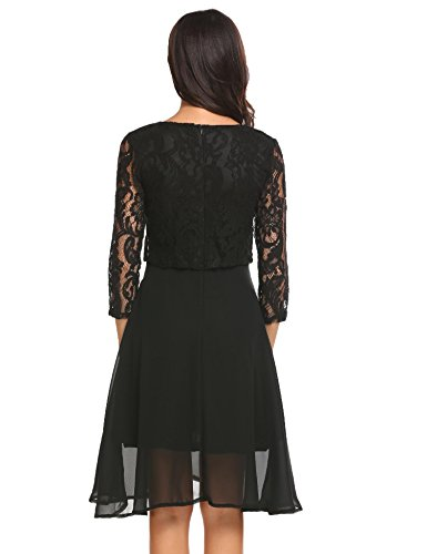 Flare Party Black Dress Lace 3 Chiffon Cocktail Floral Vintage Women 4 Sleeve Fit Casual and Bulges Patchwork SxgPUwqBw
