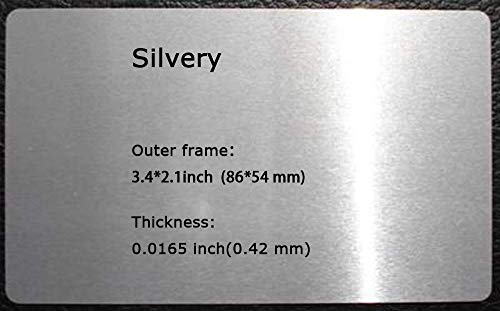 Metal Business Cards - 100pcs Sublimation Metal Business Cards Laser Engraved Metal Business Cards Sublimation 0.0165 Inch Thicknes (B-1 Silvery-Smooth)