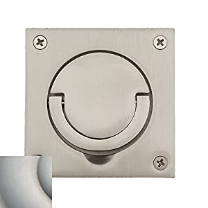 Baldwin 0397056SOL Flush Ring Pull, with Solid Spindle Lifetime Satin Nickel