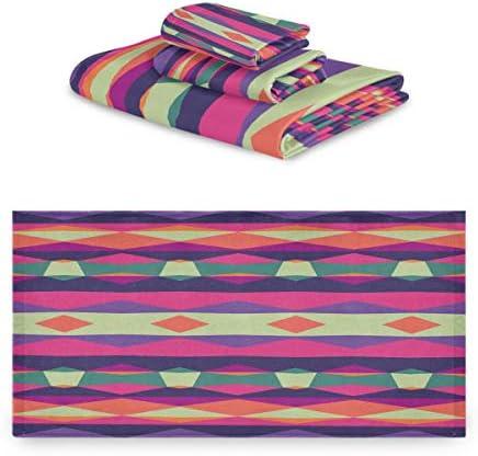 (fohoo) タオル バスタオル+フェイスタオル+ハンドタオル エスニック ストライプ柄 幾何柄 おしゃれ 可愛い 吸水 速乾 家庭用 ふわふわ 3枚セット ギフト