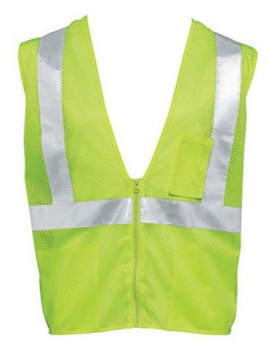 Liberty HiVizGard Polyester All Mesh Fabric Class 2 Safety Vest with Non-Conductive and Non-Caustic Zipper Front Closure, Small, Fluorescent Lime Green (Fluorescent Lime Safety Vest)