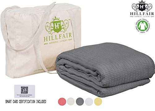 HILLFAIR 100% GOTS Certified Organic Cotton Winter Blanket- Queen Size