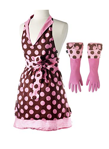 Vigar Lulu Lady Apron and Dish Glove Set, Waterproof Machine Washable Polka-dot Apron and Latex Gloves with Extra-Long Cuff, Light Pink and Brown