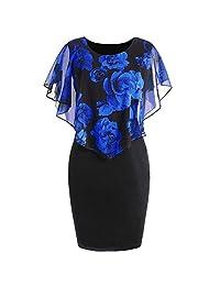 Mini Dress, Limsea 2019 New Womens Casual Plus Size Rose Print Chiffon O-Neck Ruffles Mini Dress