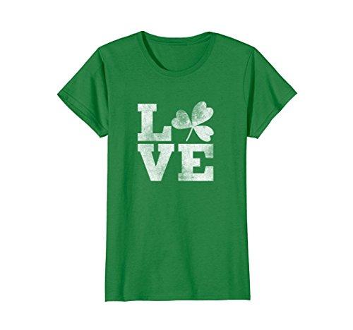 Womens Lucky Irish St. Patrick's Day T-shirt Heart LOVE Medium Kelly (Irish Heart Green T-shirt)