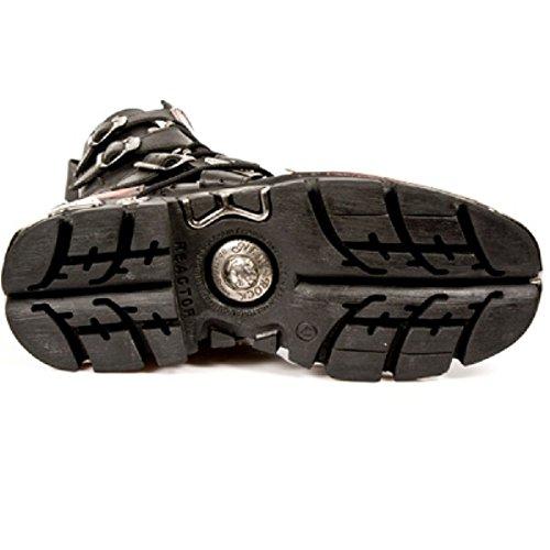 New Rock Hombres Negro Cuero Llama Impresión Atractivo Botas - M.591.S1 Negro