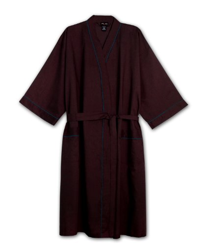 Foxfire Big Mens Light Weight Broadcloth Kimono Robe (BURGANDY 1/2X) (Big And Tall Mens Robes)