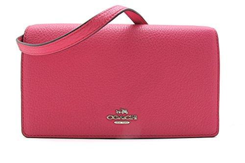Coach Foldover Clutch Wallet Pebbled Leather Crossbody Bag (MAGENTA)