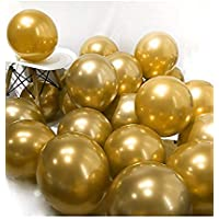 "Party Propz 12"" Metallic Chrome Shiny Latex Balloons for Party Decoration -Set of 50 Pieces (Golden)"