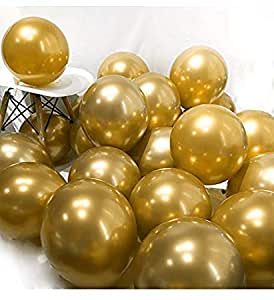 """Party Propz 12"""" Metallic Chrome Shiny Latex Balloons for Party Decoration -Set of 50 Pieces (Golden)"""