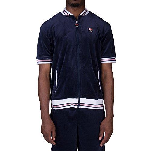 Fila Men's Carezzi Velour Jacket, Peacoat, White, Chinese Red, XL