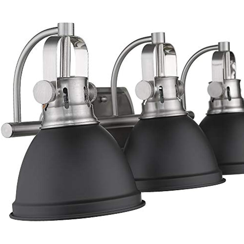 Emliviar 3-Light Bathroom Vanity Fixture, Black Finish ...