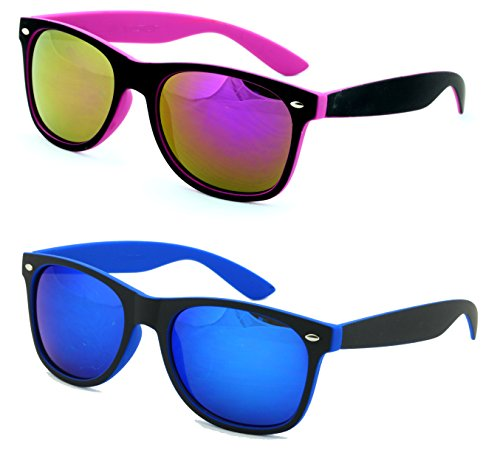 VW Eyewear - 2 Pairs Rubberized Soft 2-Tone Neon Horn-Rimmed Mirror Sunglasses (Purple and (Neon Blue Sunglasses)