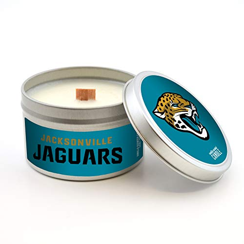 Worthy Promotional NFL Jacksonville Jaguars Vanilla Scented Wood Wick Candle in Travel Tin with Lid, 5.8-Ounce