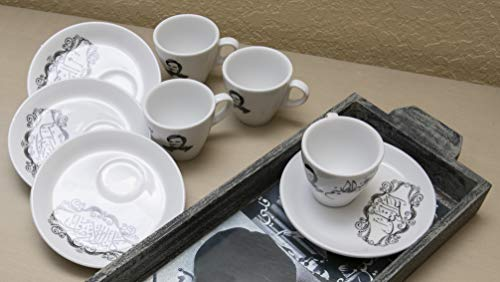 Arabic or Turkish Coffee Cups and Saucers - Set of 6. Arabic singer Abdel Halim Hafez picture printed in black on each cup and lyrics printed on the saucers. (The Best Turkish Singer)
