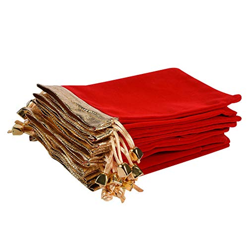 Ladovin 25Pcs Soft Velvet Pouches with Drawstrings for Jewelry Wedding Candy Gift Bags, 4.7