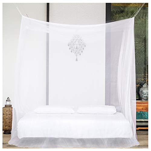 EVEN Naturals Luxury Mosquito Net for Bed Canopy, Large Tent for Full, Double to Queen Size, Square Curtains, Mosquito Netting 2 Entries, Easy to Install, Hanging Kit, Storage Bag, No Chemicals Added
