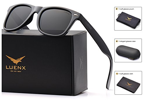 LUENX Mens Wayfarer Polarized Sunglasses for Womens UV 400 Protection Black Lens Glossy Black Frame 54MM,by with Case by LUENX