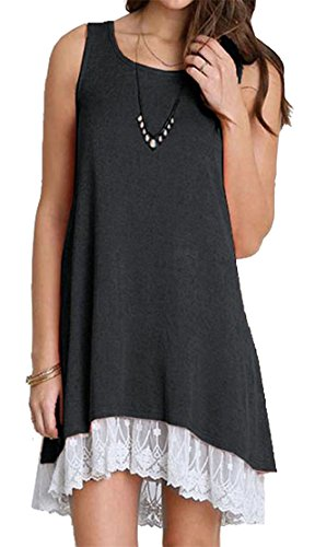 Grey Shift Womens Neck Big Black Casual Lace Round Mini Sleeveless Hem Tang Dress qwHzf7