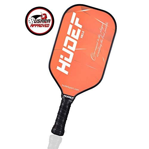 HUDEF Pickleball Paddle-Composite Fiber Face Polypropylene Honeycomb Core Pickleball Racquet,Lightweight Premium Grip Standard and Elongated Balanced Pickleball Rackets,USAPA -