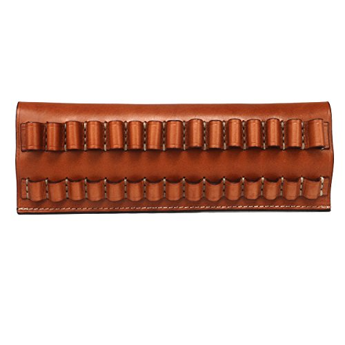 TOURBON Leather Rifle Shell Holder 15 Round Belt Ammo Carrier (Can Hold 30-06,270,65x55,ect)