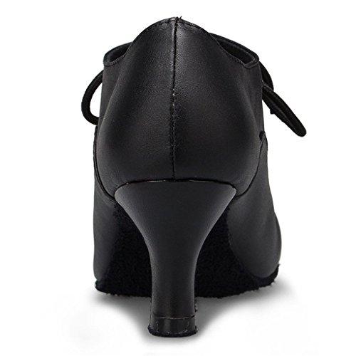 Lacets Femmes Ballroom Bout Dance Moderne Noir Chaussures Salsa Rond Monie Latine Lanires HnTdaxpp