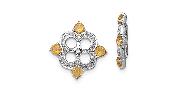 Ladies 925 Sterling Silver Diamond /& Citrine Earring Jacket 11mm x 11mm