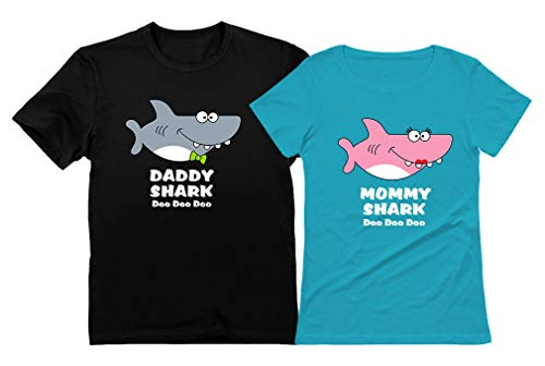 Brand New T-shirts - Daddy Shark Mommy Shark Doo Doo Doo Mom and Dad Gift T-Shirt Funny Family Set Daddy Black XX-Large/Mommy Aqua Large
