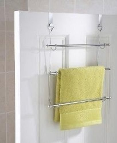 3 Tier Over Door Towel Rail Rack Chrome Hanger Holder Bathroom Organizer  Storage By E Trade