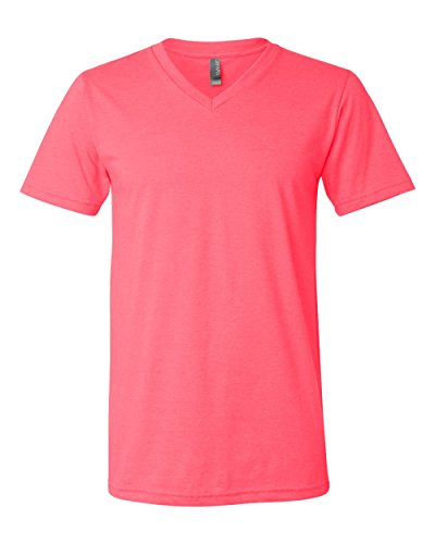Bella Canvas Comfortable V-Neck Soft Fitted Jersey T-Shirt, Neon Pink, X-Large