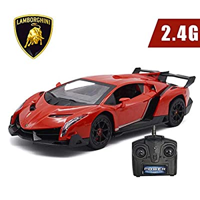 Remote Control Car-LAFALA Electric RC Car Compatible with Lamborghini Veneno Radio Remote Control Vehicle Sport Racing Hobby Grade Licensed Model Car 1:24 Scale for Kids Adults (Red): Toys & Games