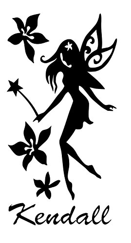 HUANYI Fairy Flower Kendall Name Letters Childrens Room Vinyl Wall Art Sticker Decal