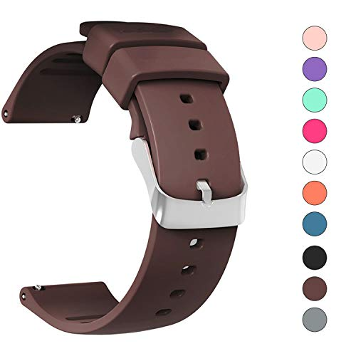 JIELIELE Compatible 22mm Wristbands, Silicone Watch Band Straps Accessory for Samsung Gear S3 Frontier/Classic/Gear 2 / Galaxy Watch 46mm / Fossil Q Wander/Huawei Watch GT (Brown, 22mm) -