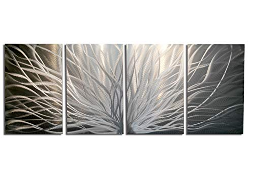 Miles Shay Metal Wall Art, Modern Home Decor, Abstract Wall Sculpture Contemporary- Radiant Silver (4 Panel- 63
